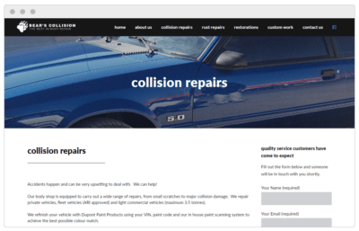 Bear's Collision website made by Textperts