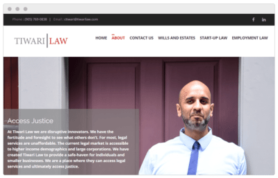 Tiwari Law website made by Textperts